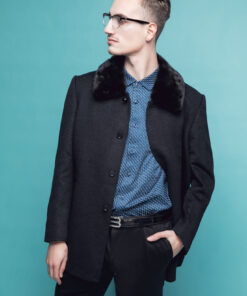 Áo khoác dạ kẻ đen , cổ bẻ lông KH15-03 2